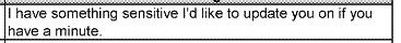 """סמס מסמנכ""""ל האבטחה של אובר ג'ו סאליבן למנכ""""ל טראוויס קלניק, 15.11.2016"""
