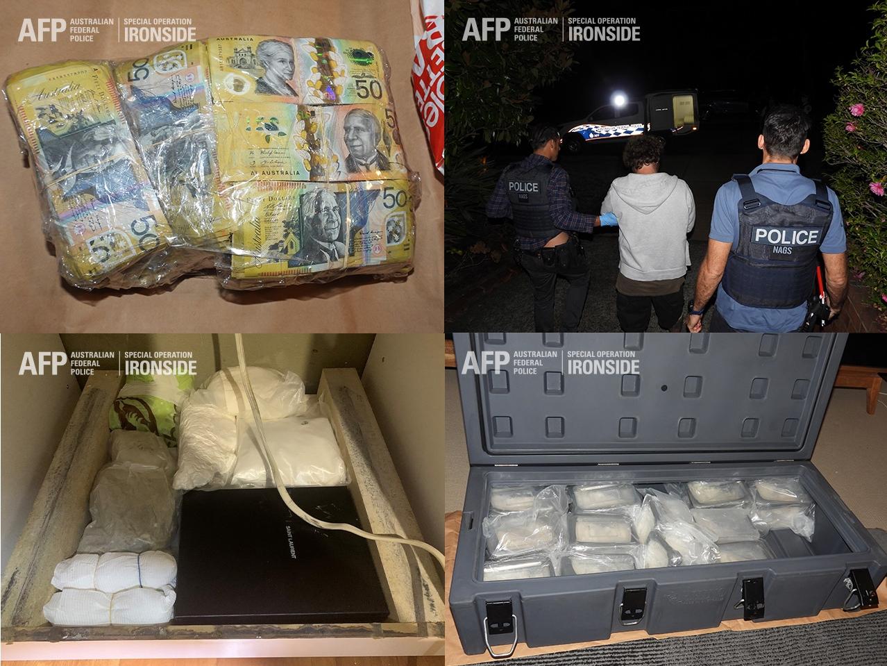 מעצרים והחרמות של כסף וסמים באוסטרליה במסגרת מבצע איירונסייד/מגן טרויאני 🖼️ משטרת אוסטרליה